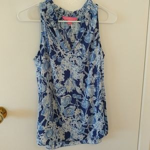 Lilly pulitzer blue nautical tank top